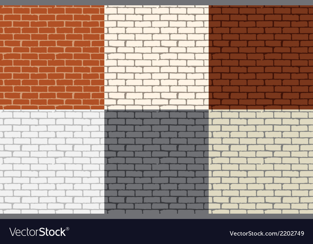 Set of 6 colored brick wall seamless vector | Price: 1 Credit (USD $1)
