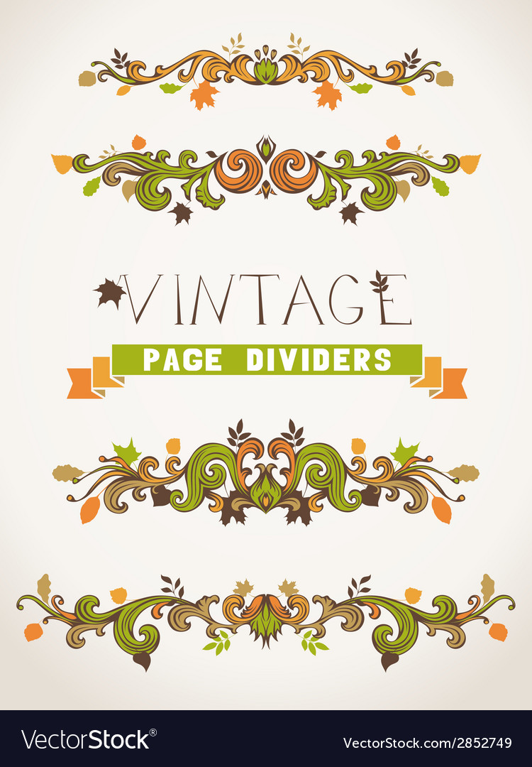 Set of vintage design elements with leaves vector | Price: 1 Credit (USD $1)