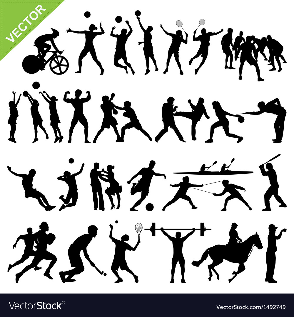 Sport players silhouettes vector | Price: 1 Credit (USD $1)