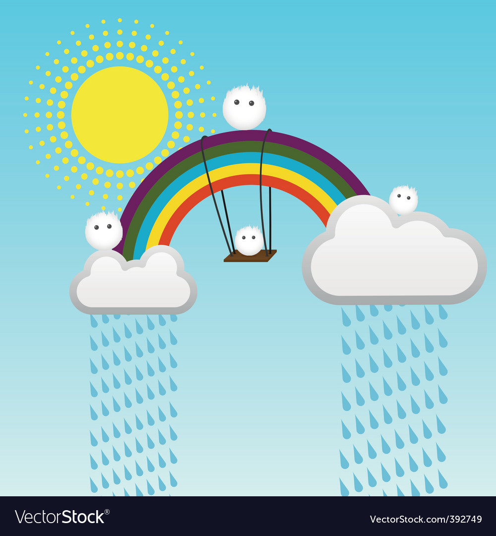 Swing on a rainbow vector | Price: 1 Credit (USD $1)