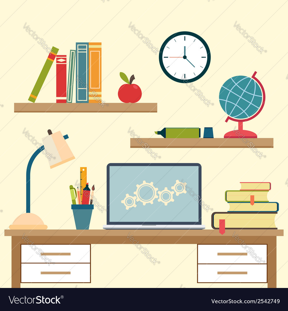 Workplace with high school object and college vector | Price: 1 Credit (USD $1)