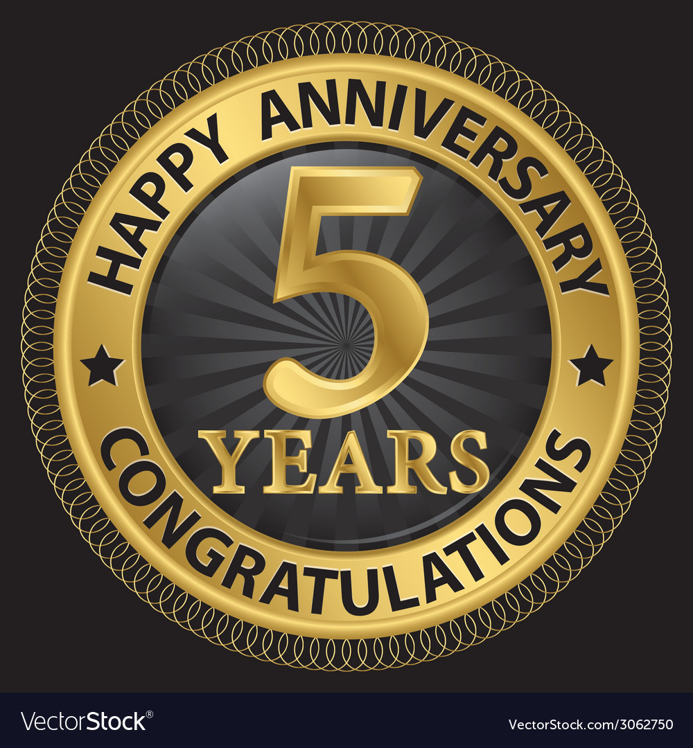 5 years happy anniversary congratulations gold vector | Price: 1 Credit (USD $1)