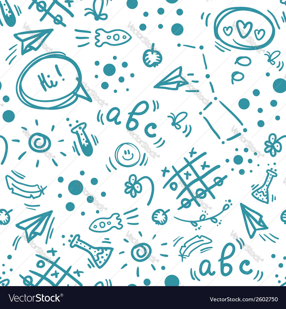 Back to school hand drawn doodle seamless pattern vector | Price: 1 Credit (USD $1)