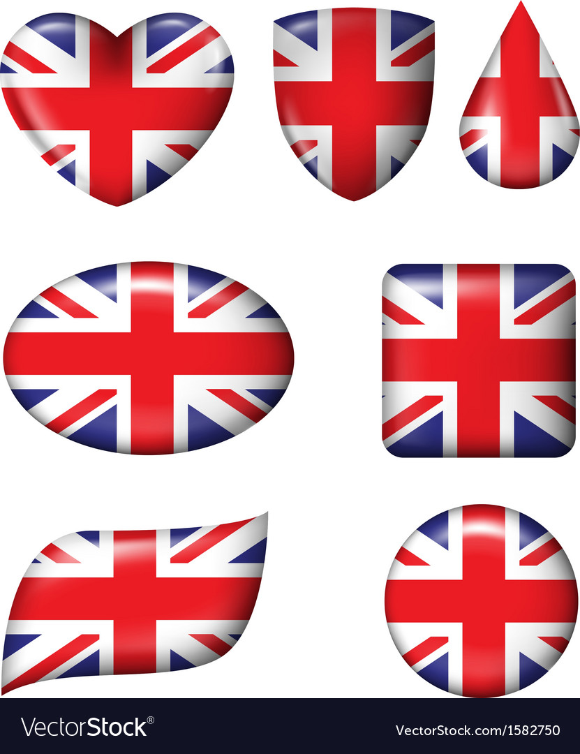 British flag in various shape glossy button vector | Price: 1 Credit (USD $1)