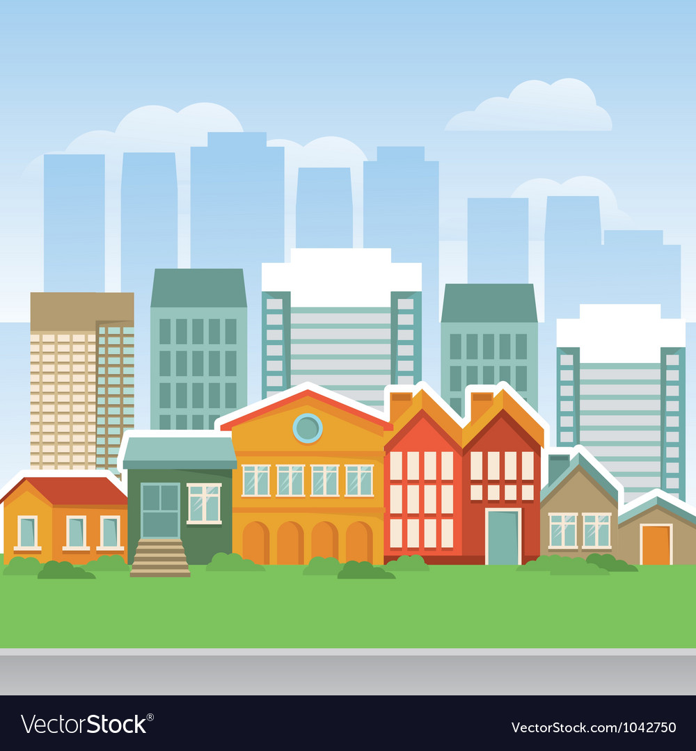 City with cartoon houses and buidings vector | Price: 1 Credit (USD $1)