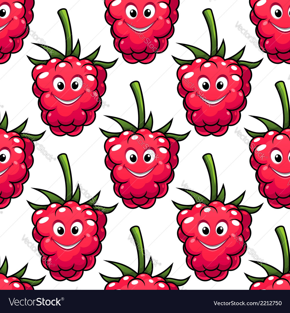 Cute ripe red raspberry seamless pattern vector | Price: 1 Credit (USD $1)