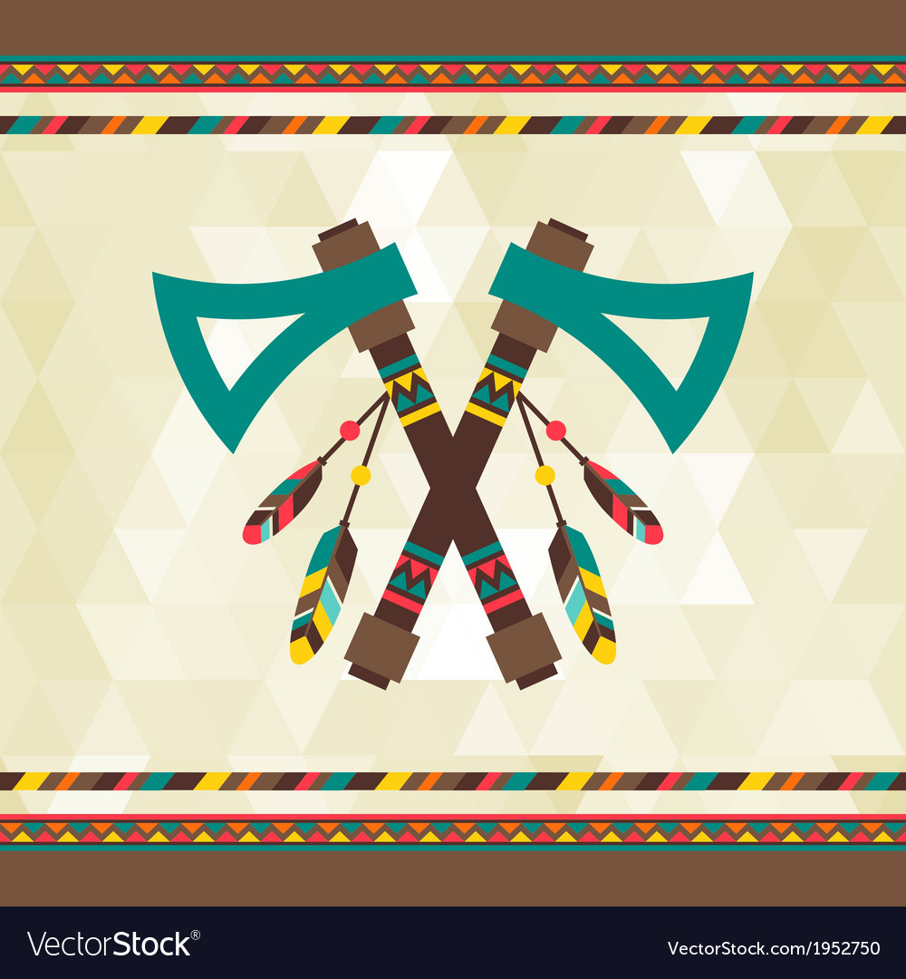Ethnic background with tomahawk in navajo design vector | Price: 1 Credit (USD $1)