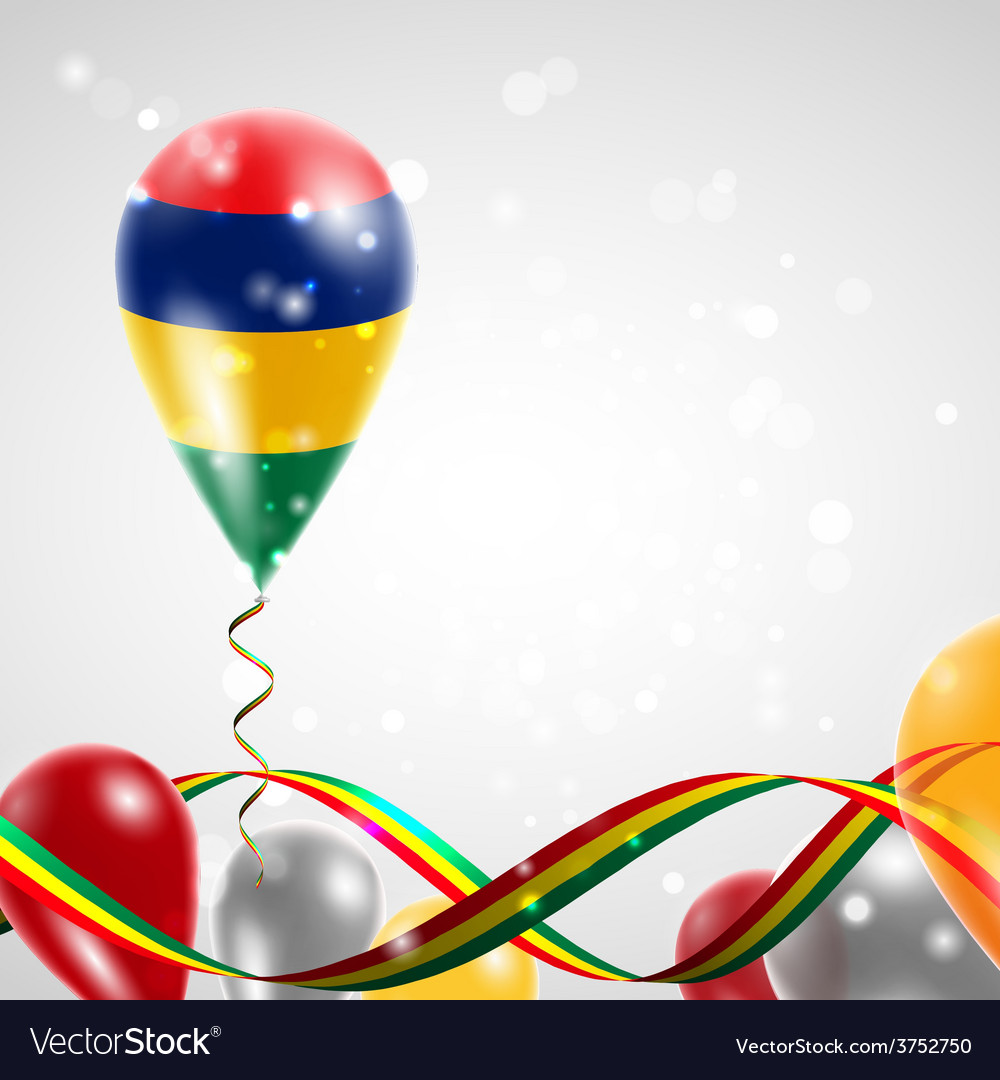 Flag of mauritius on balloon vector | Price: 1 Credit (USD $1)