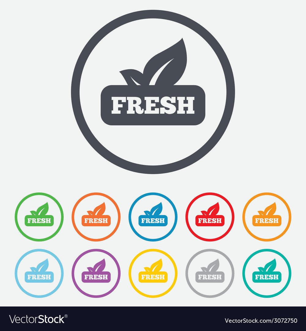 Fresh product sign icon leaf symbol vector | Price: 1 Credit (USD $1)