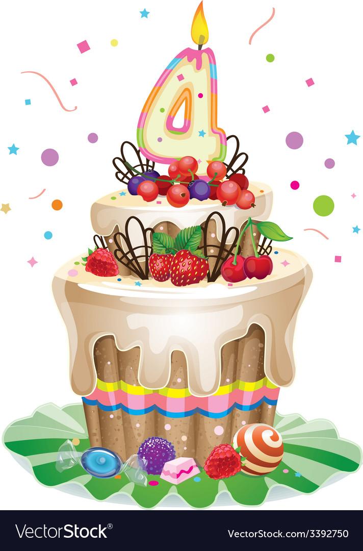 Happy birthday cake 4 vector | Price: 3 Credit (USD $3)