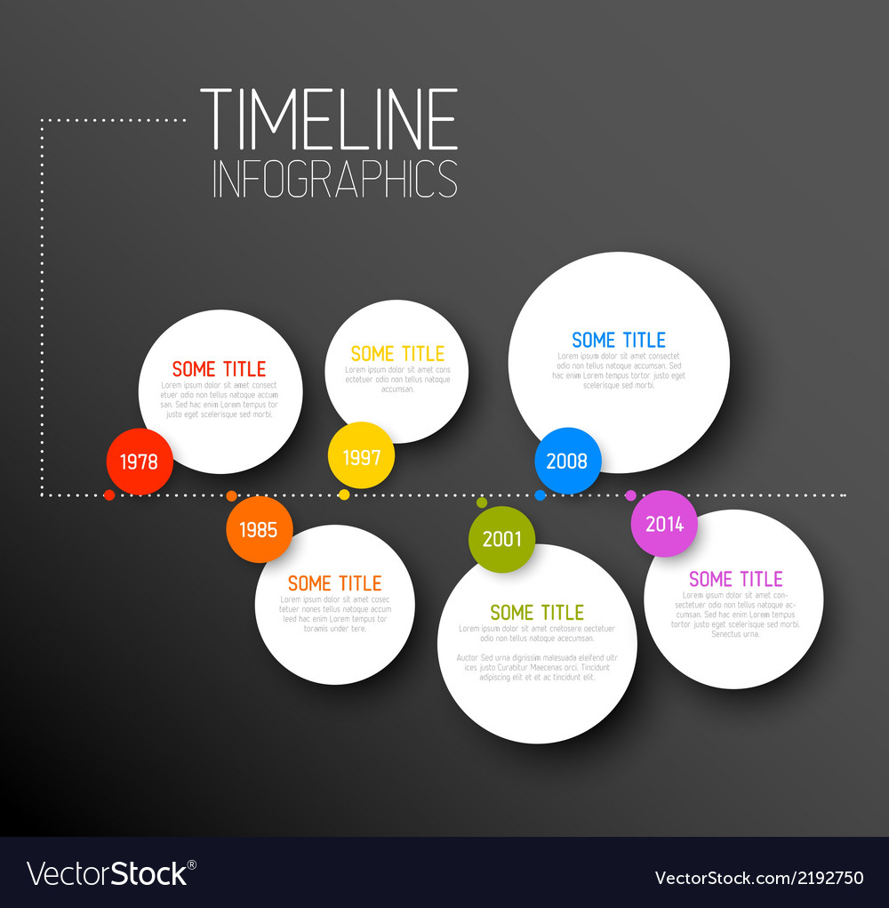 Infographic horizontal dark timeline report vector | Price: 1 Credit (USD $1)