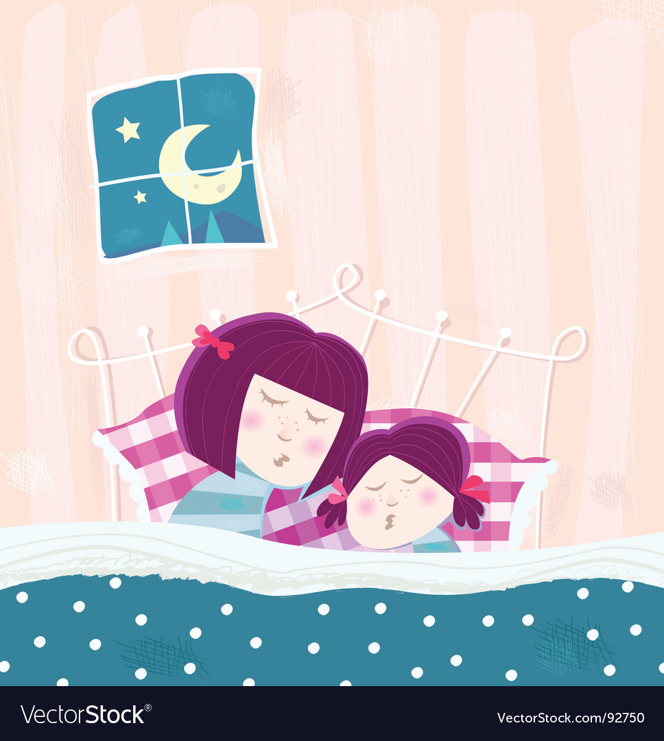 Sleeping mother and child vector | Price: 3 Credit (USD $3)