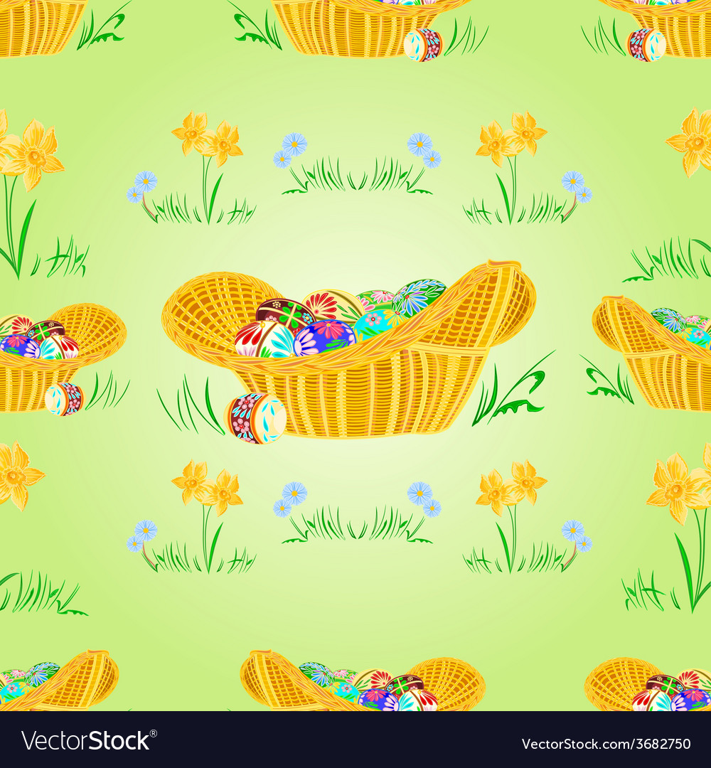 Straw basket with easter eggs seamless texture vector | Price: 1 Credit (USD $1)