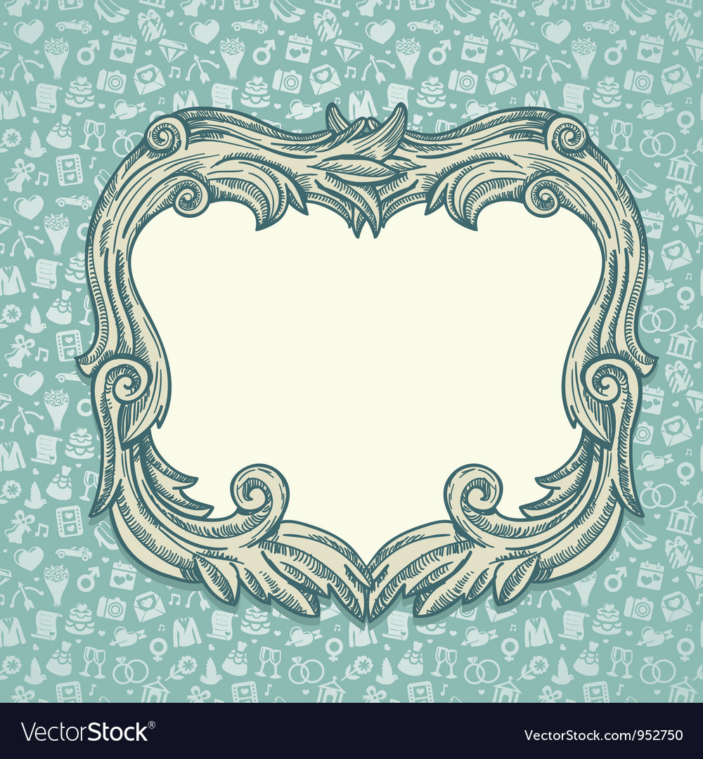 Vintage background with wedding ans love icons vector | Price: 1 Credit (USD $1)