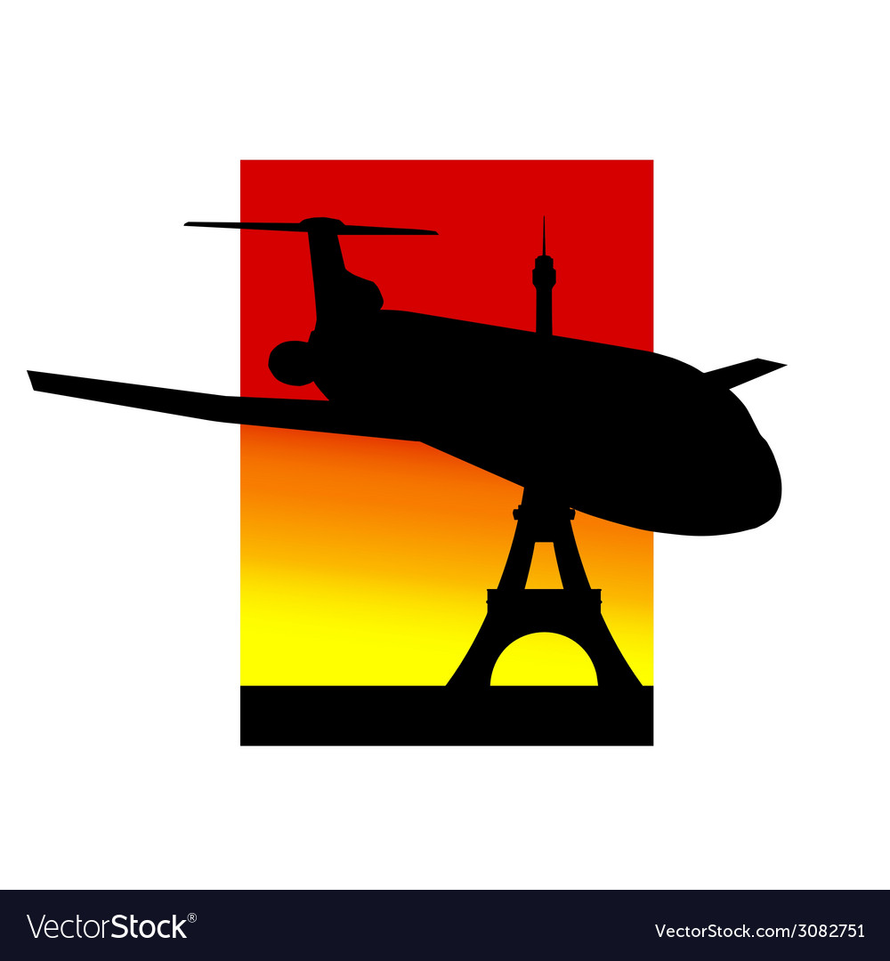 Airplane and eiffel tower silhouette vector | Price: 1 Credit (USD $1)