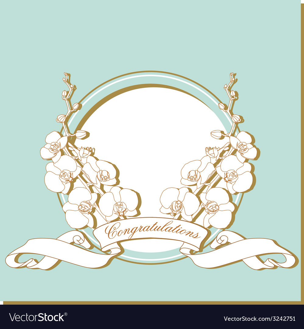 Card with white orchids on a blue frame vector | Price: 1 Credit (USD $1)