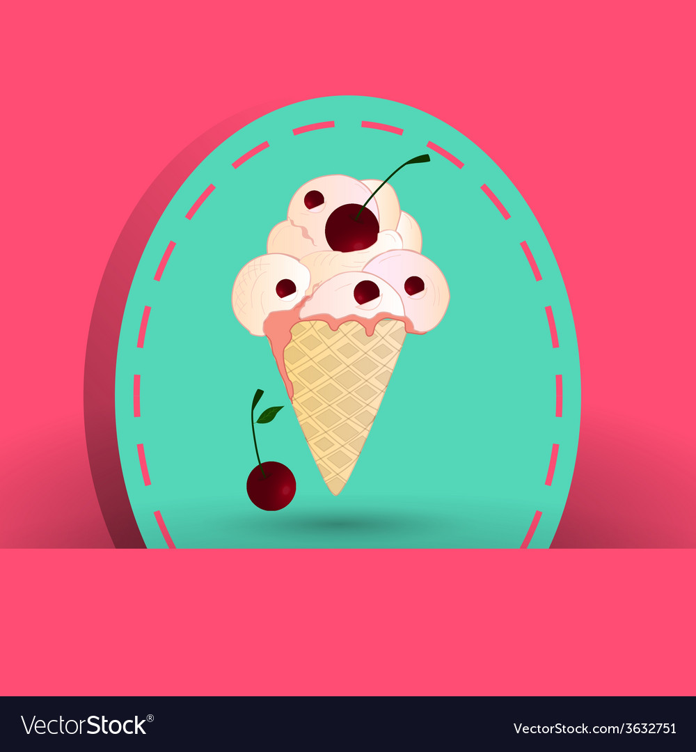 Cherry icecream on the pink background vector | Price: 1 Credit (USD $1)