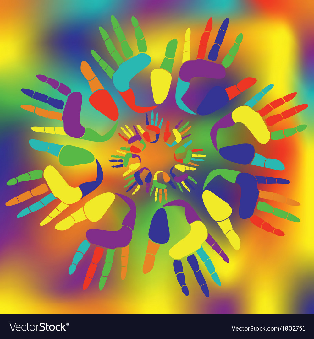 Colored palmprints vector | Price: 1 Credit (USD $1)