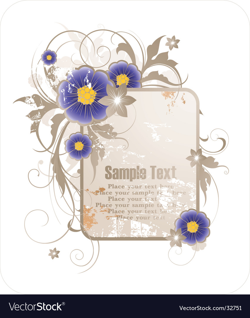 Floral grunge frame vector | Price: 1 Credit (USD $1)