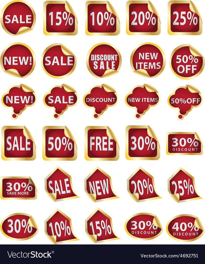 Gold sale n discount sticker vector | Price: 1 Credit (USD $1)
