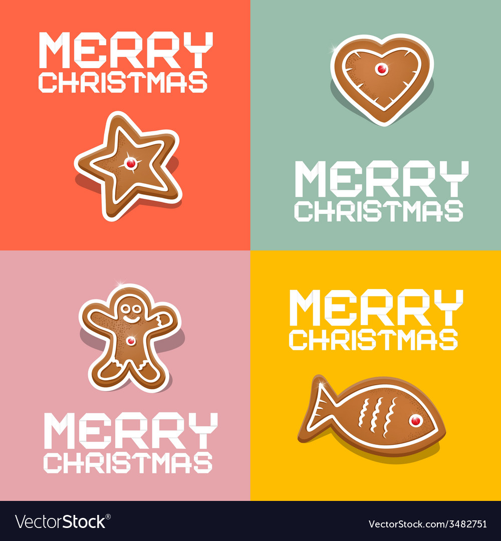 Retro christmas heart fish star and gingerbread vector | Price: 1 Credit (USD $1)