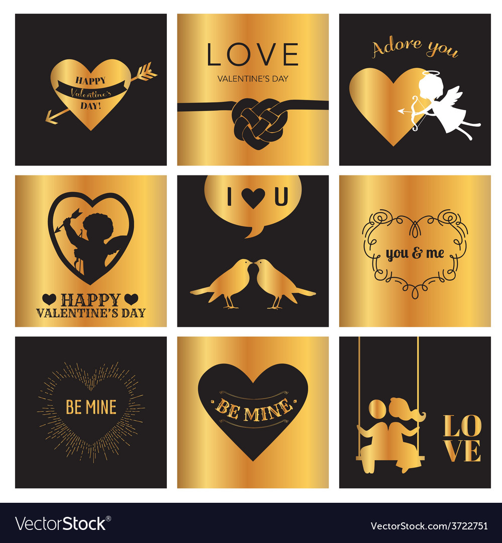 Set of love cards for valentines day vector | Price: 1 Credit (USD $1)