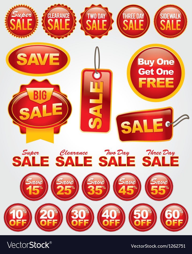 Set of retail sale labels vector | Price: 1 Credit (USD $1)