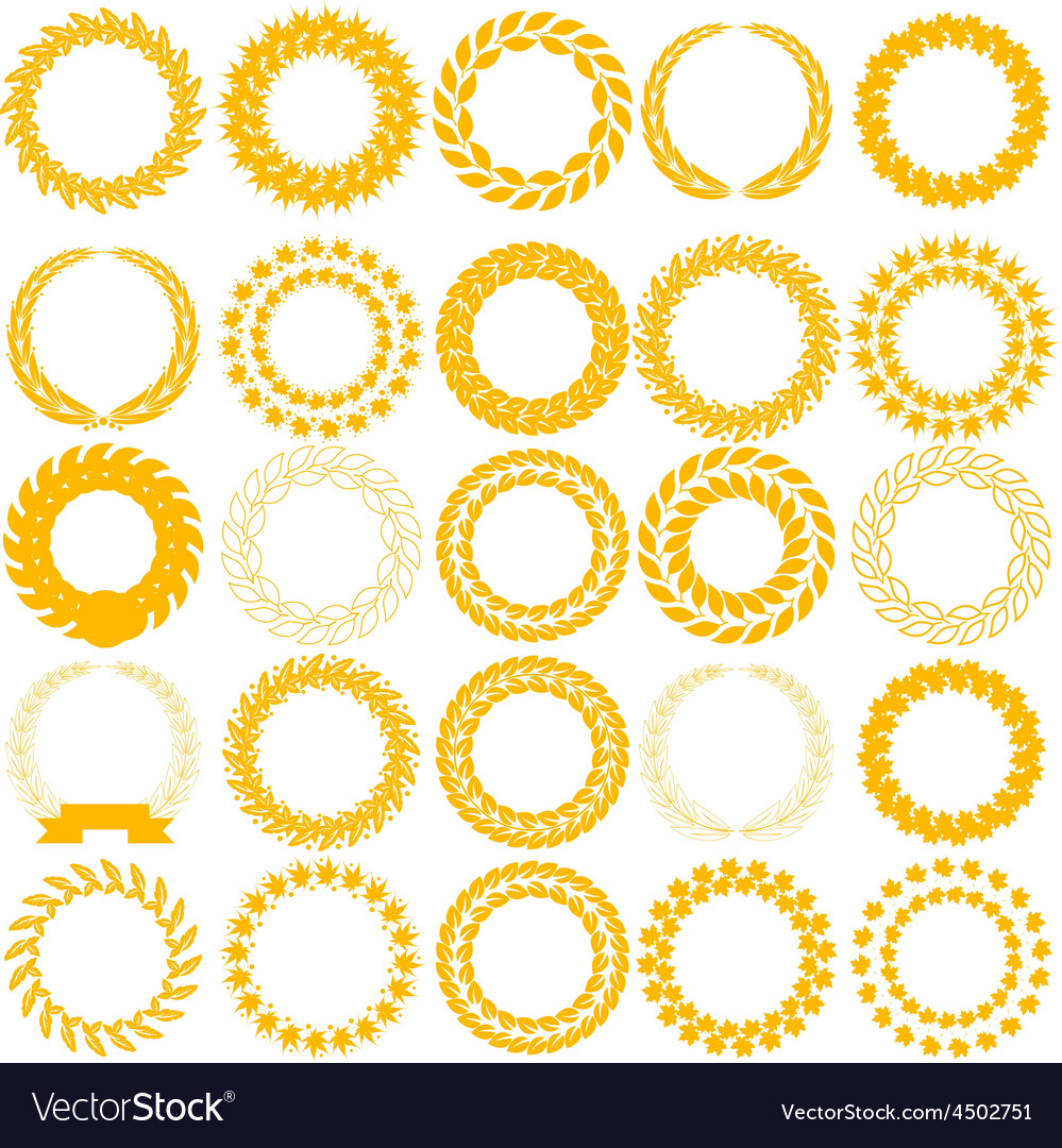 Set yellow laurel wreath on the white background vector | Price: 1 Credit (USD $1)