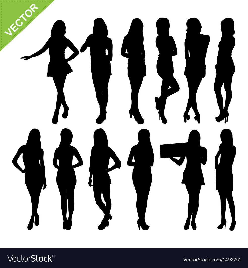 Sexy women silhouettes vector | Price: 1 Credit (USD $1)