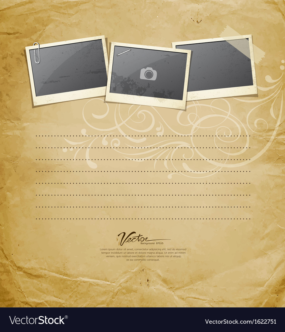 Vintage instant photo on old paper vector | Price: 1 Credit (USD $1)