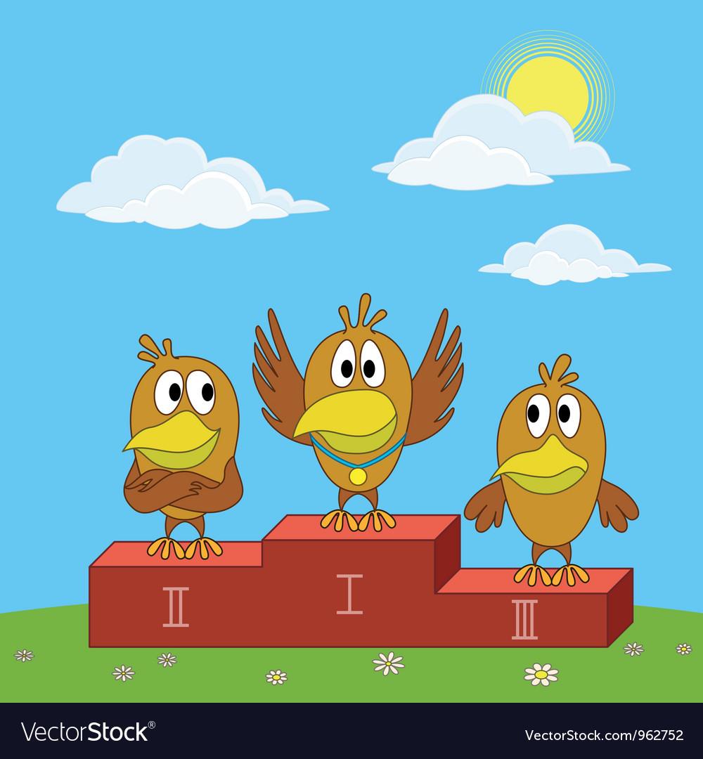 Birds sportsmans on pedestal vector | Price: 1 Credit (USD $1)