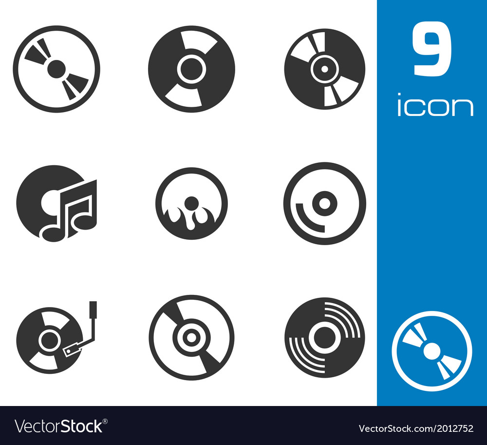 Black cd disk icons set vector | Price: 1 Credit (USD $1)