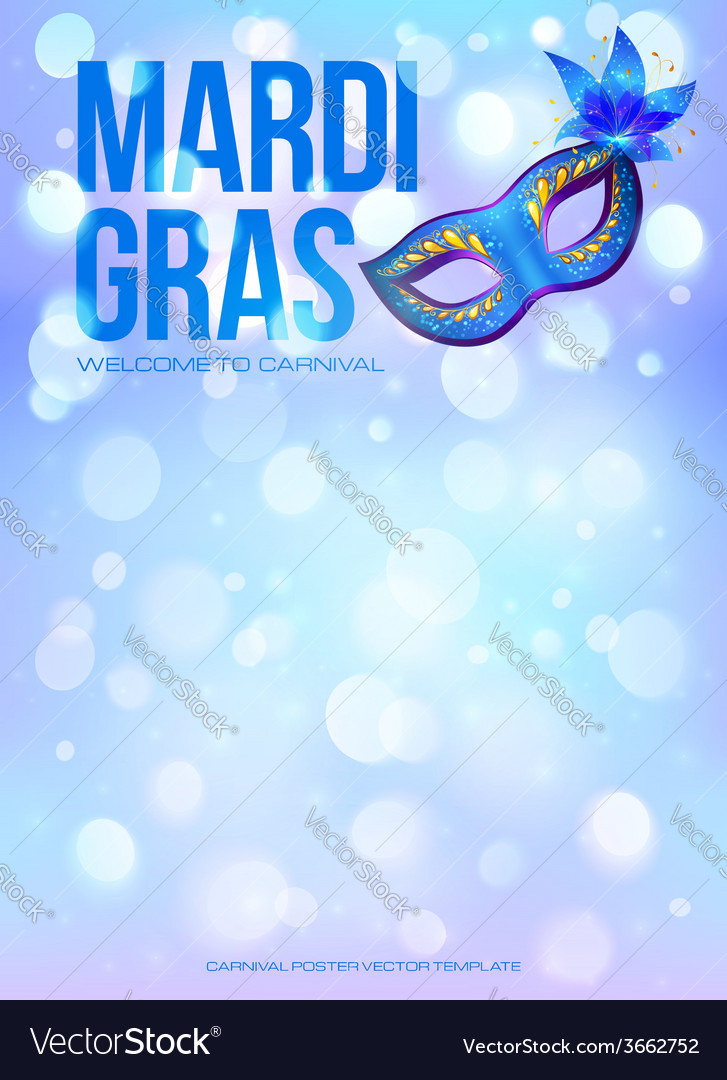 Blue mardi gras poster template with bokeh effect vector | Price: 1 Credit (USD $1)