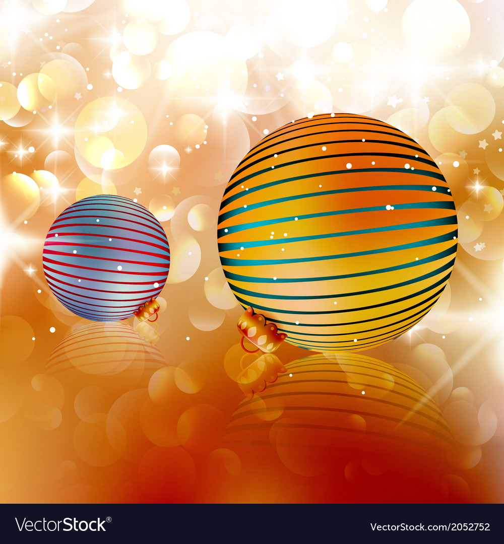 Christmas balls on abstract background vector   Price: 1 Credit (USD $1)