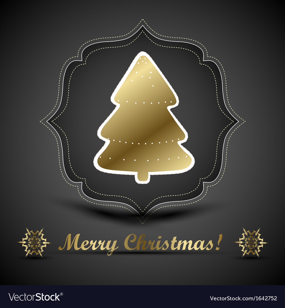 Christmas tree applique and bow background vector | Price: 1 Credit (USD $1)