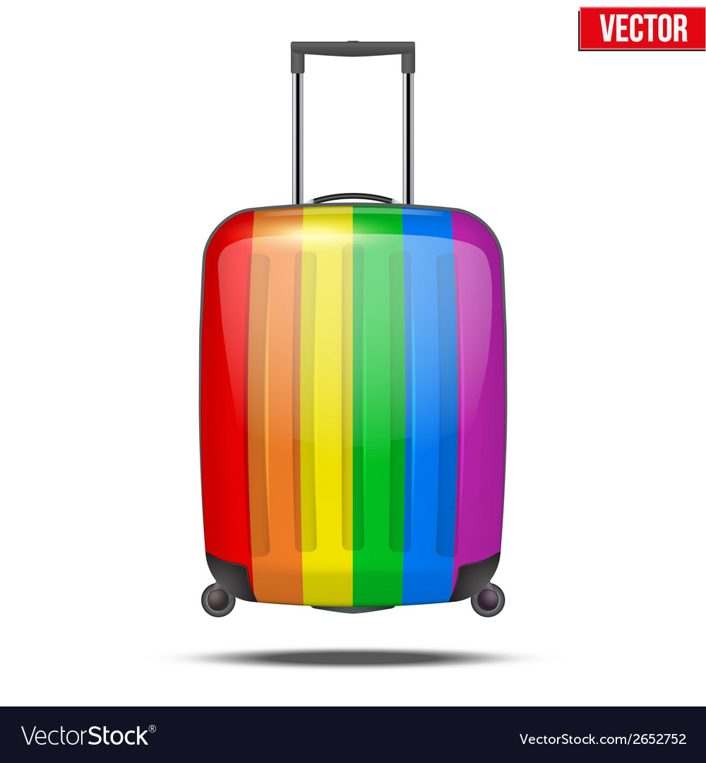 Classic rainbow plastic luggage suitcase for air vector | Price: 1 Credit (USD $1)