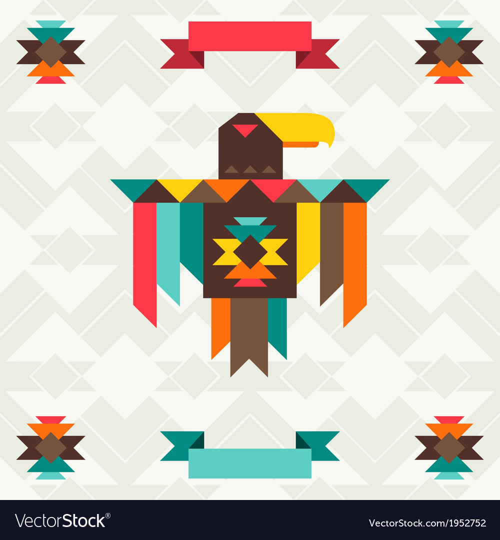 Ethnic background with eagle in navajo design vector | Price: 1 Credit (USD $1)