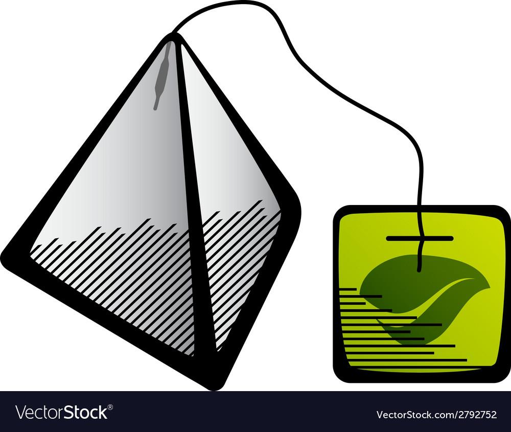 Green tea pyramid bag icon vector | Price: 1 Credit (USD $1)