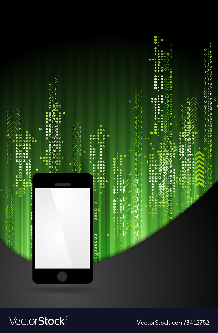 Green tech abstract background with smartphone vector | Price: 1 Credit (USD $1)