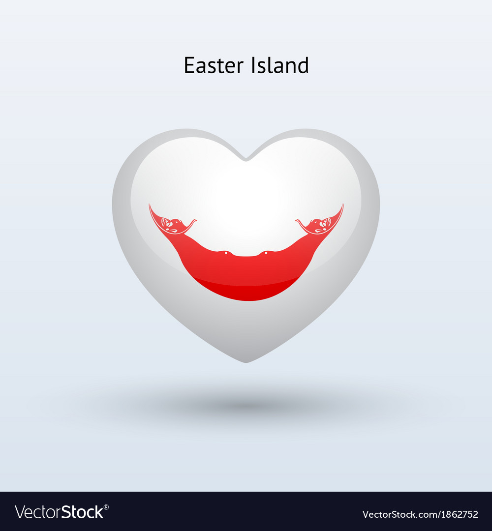 Love easter island symbol heart flag icon vector | Price: 1 Credit (USD $1)