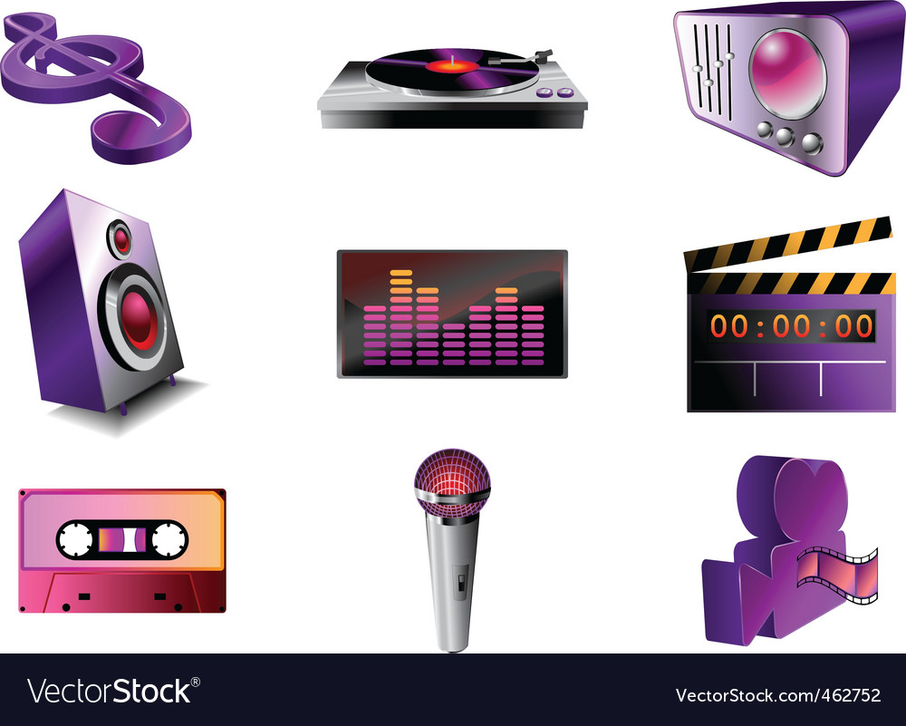 Music audio icon set vector | Price: 1 Credit (USD $1)
