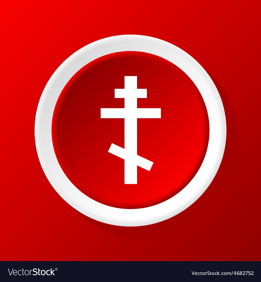 Orthodox cross icon on red vector | Price: 1 Credit (USD $1)