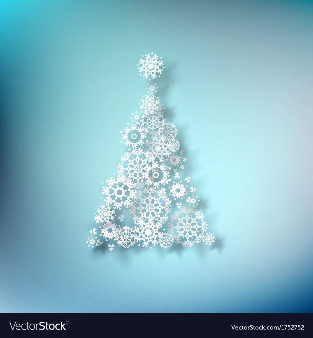 Paper christmass tree on blue eps 10 vector | Price: 1 Credit (USD $1)