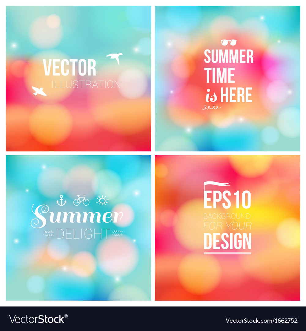 Set of soft blurry backgrounds with bokeh effect vector | Price: 1 Credit (USD $1)