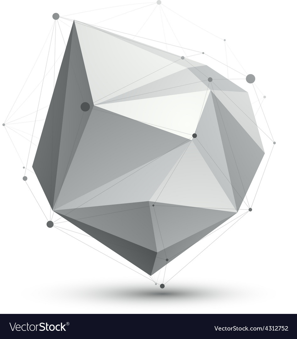 Triangular abstract grayscale 3d shape digital vector | Price: 1 Credit (USD $1)