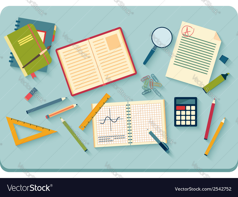 Workplace with tools top view vector | Price: 1 Credit (USD $1)
