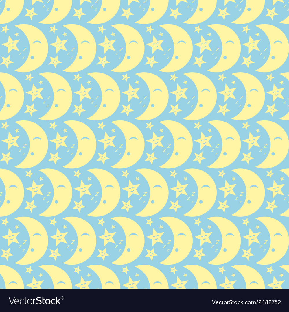 Yellow happy cute moon and star pattern on pastel vector | Price: 1 Credit (USD $1)