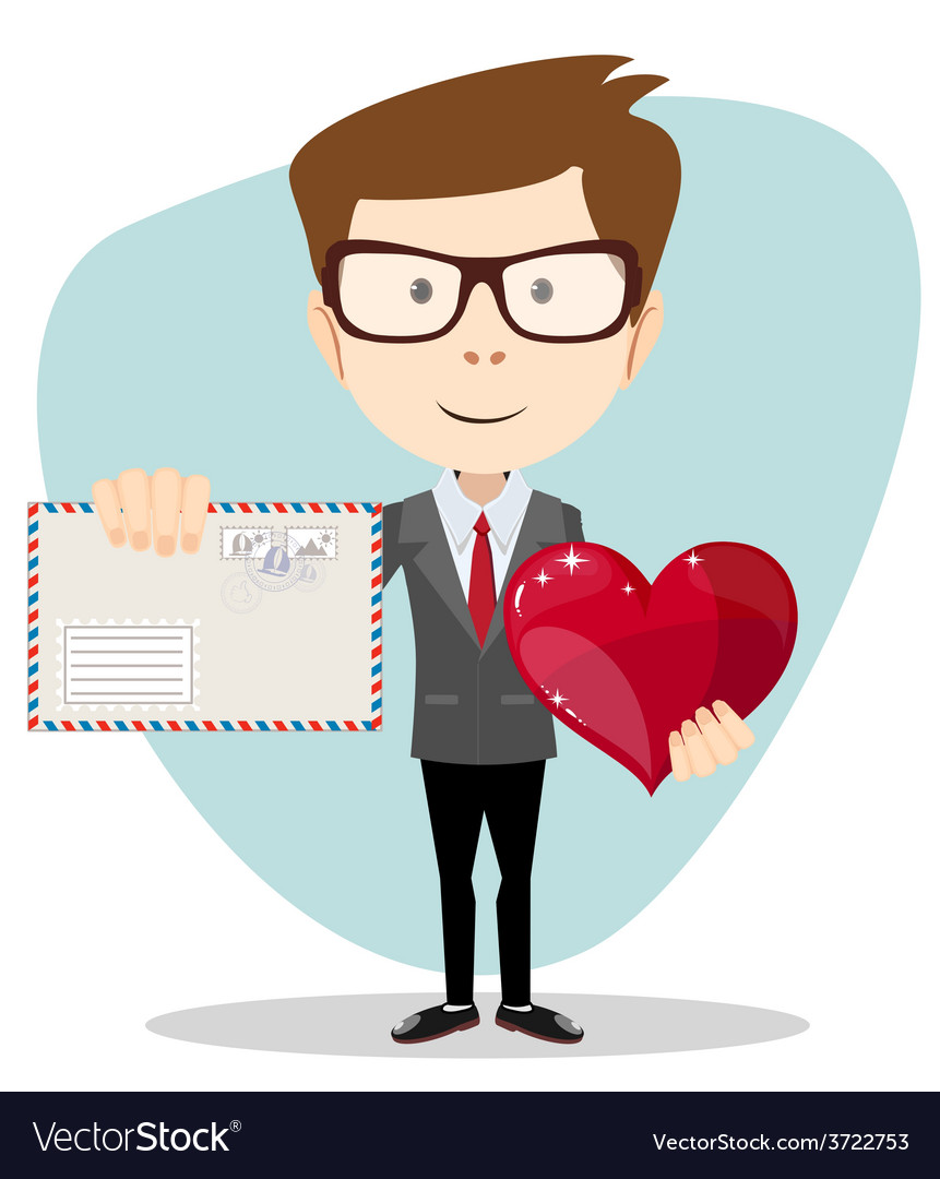 Businessman holding a heart and envelope vector | Price: 1 Credit (USD $1)