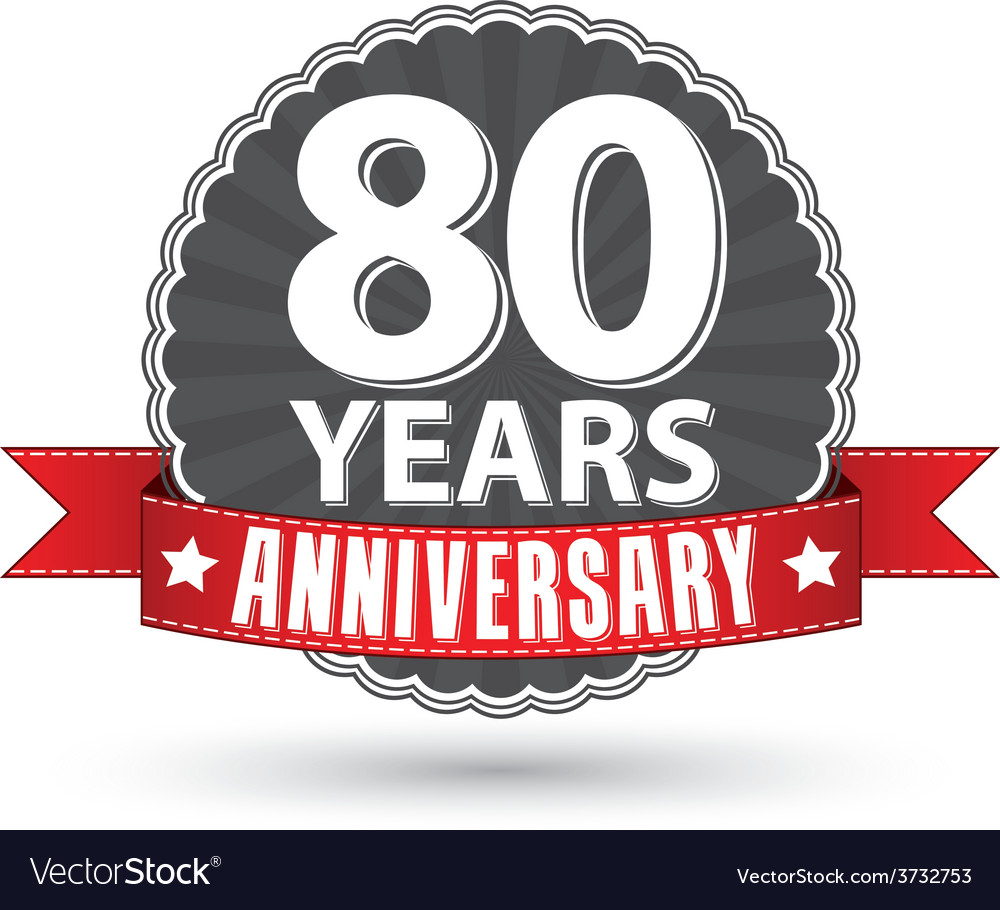 Celebrating 80 years anniversary retro label with vector | Price: 1 Credit (USD $1)