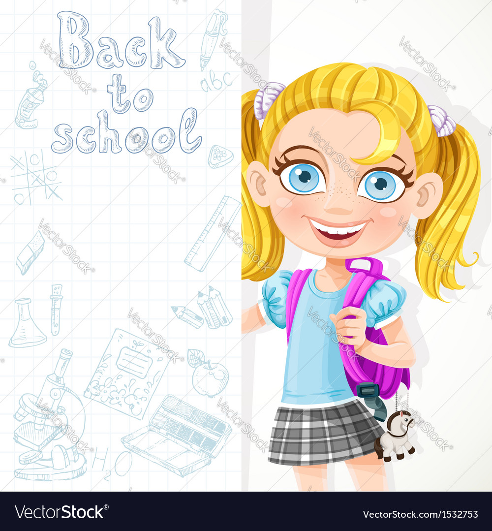 Cute schoolgirl hold big banner vector | Price: 3 Credit (USD $3)